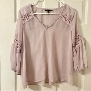 Victoria's Secret Sheer Crochet Accent Blouse